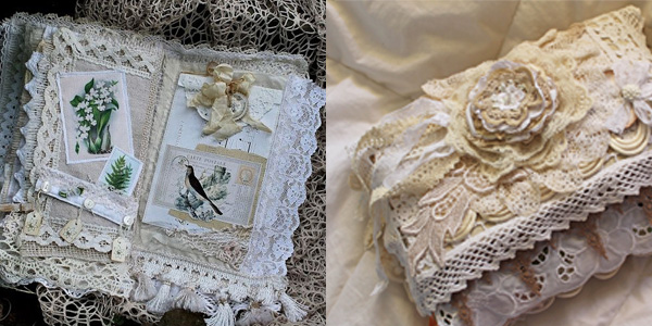 lace photo album out of lace gown